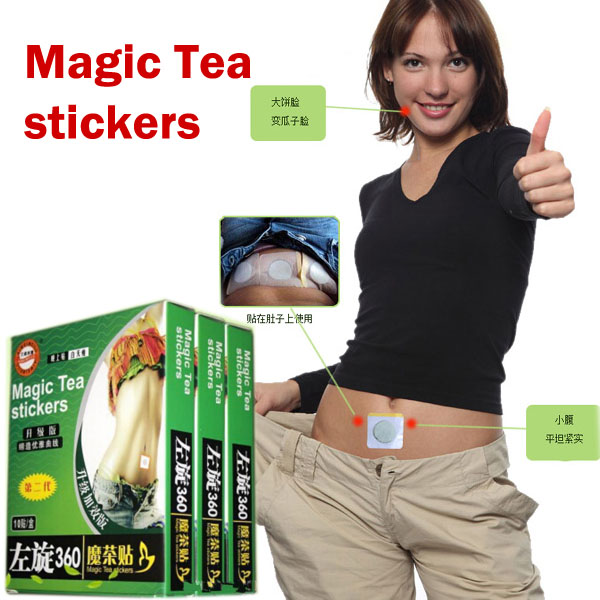 Free Shipping Weight loss stickers  Magic Tea stickers 10 pcs * 2 box Lazy slim stickers 7 1oz 200g hoodia gordonii extract powder natural fat burners for weight loss free shipping