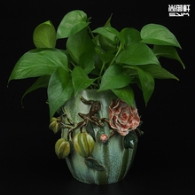 Shiwan doll ceramic vase straight body glazed dining room decoration crafts boutique Creative Desktop carambola
