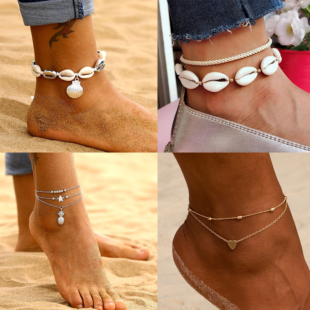 IPARAM Hot Fashion Pineapple Shell Heart Anklet Bohemian Retro Beach Gold Silver Color Multilayer Anklet Jewelry Wholesale