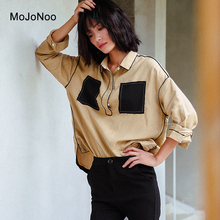 MOJONOO Elegant Women Ladies Cotton Casual Big Loose Blouse Femme 2017 New Autumn Ladies Blouses And Tops Shirt Designs Pockets