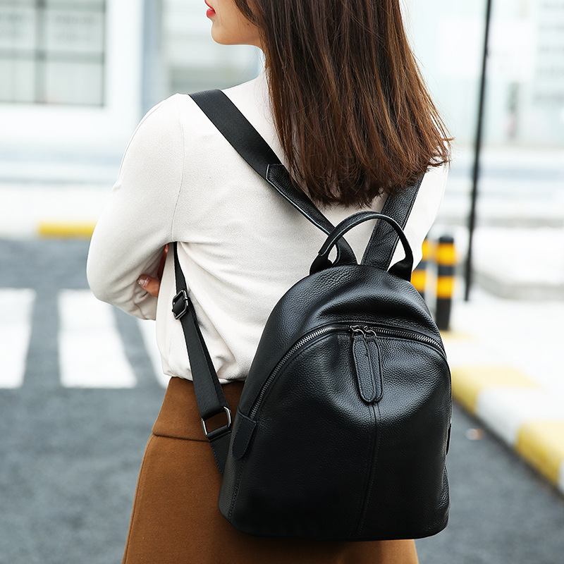 2018 New Korean Simple Style Cowhide Shoulder Bag Women s Backpack Genuine Leather Large Capacity Preppy