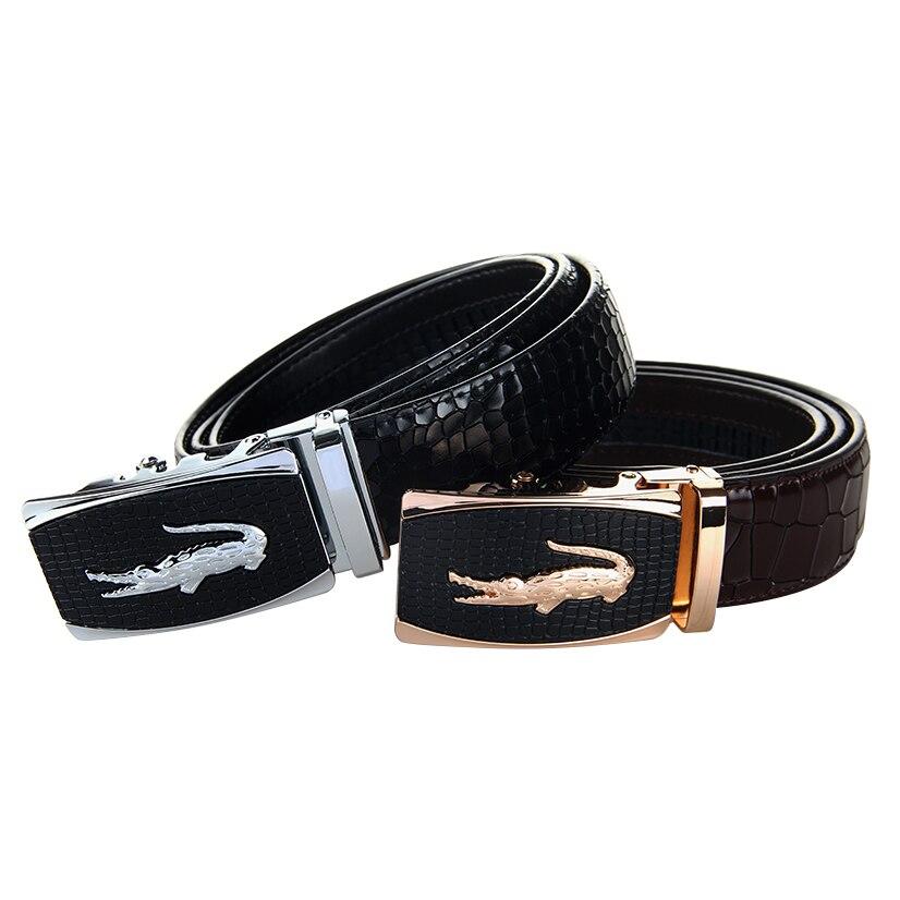 Newest Men 39 s Genuine Leather Belt Crocodile Grain Leather High Brand Luxury Men Belts Large Size 140cm Male Belt Free Shipping in Men 39 s Belts from Apparel Accessories