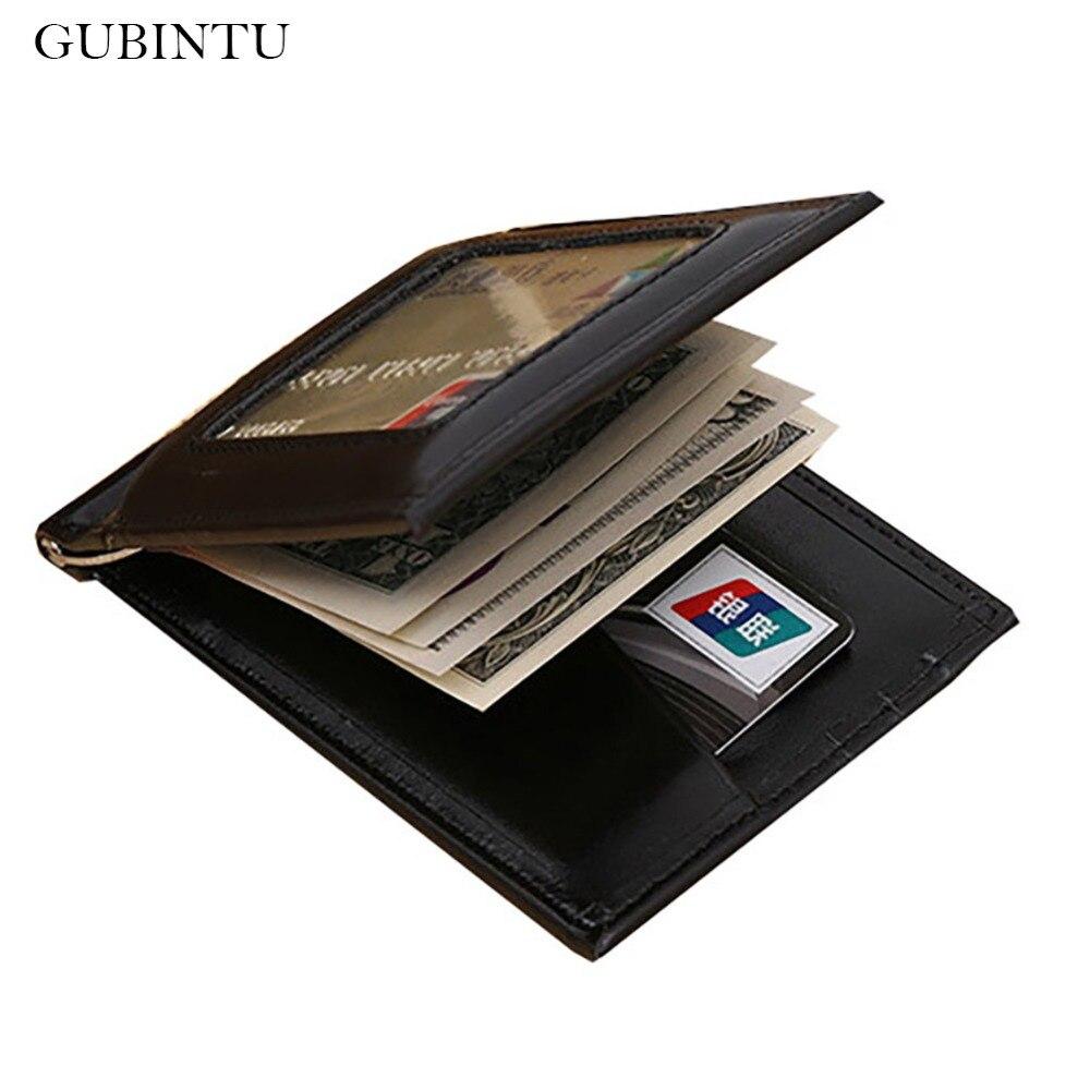 GUBINTU Leather Men Wallet Money Clips Mental Rfid Credit Card Case Minimalist Clamps For Money --BID093 PM49
