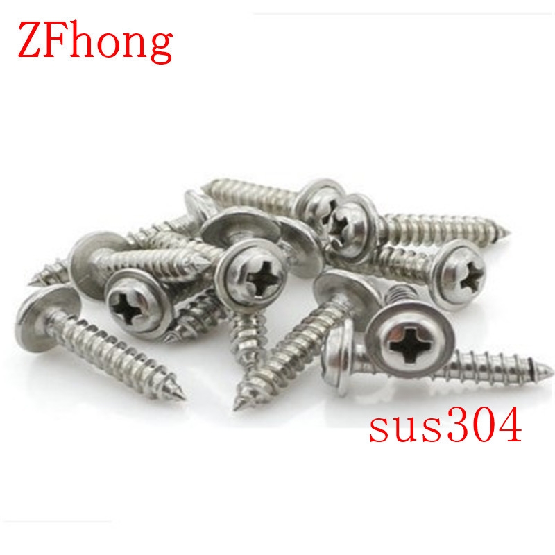 100pcs M3*5/6/8/10/12/14  3mm Stainless steel 304 phillips round washer head self tapping screw 500pcs lot din7985 stainless steel 304 m3 phillips pan round head machine screw kit m3 5 6 8 10 12