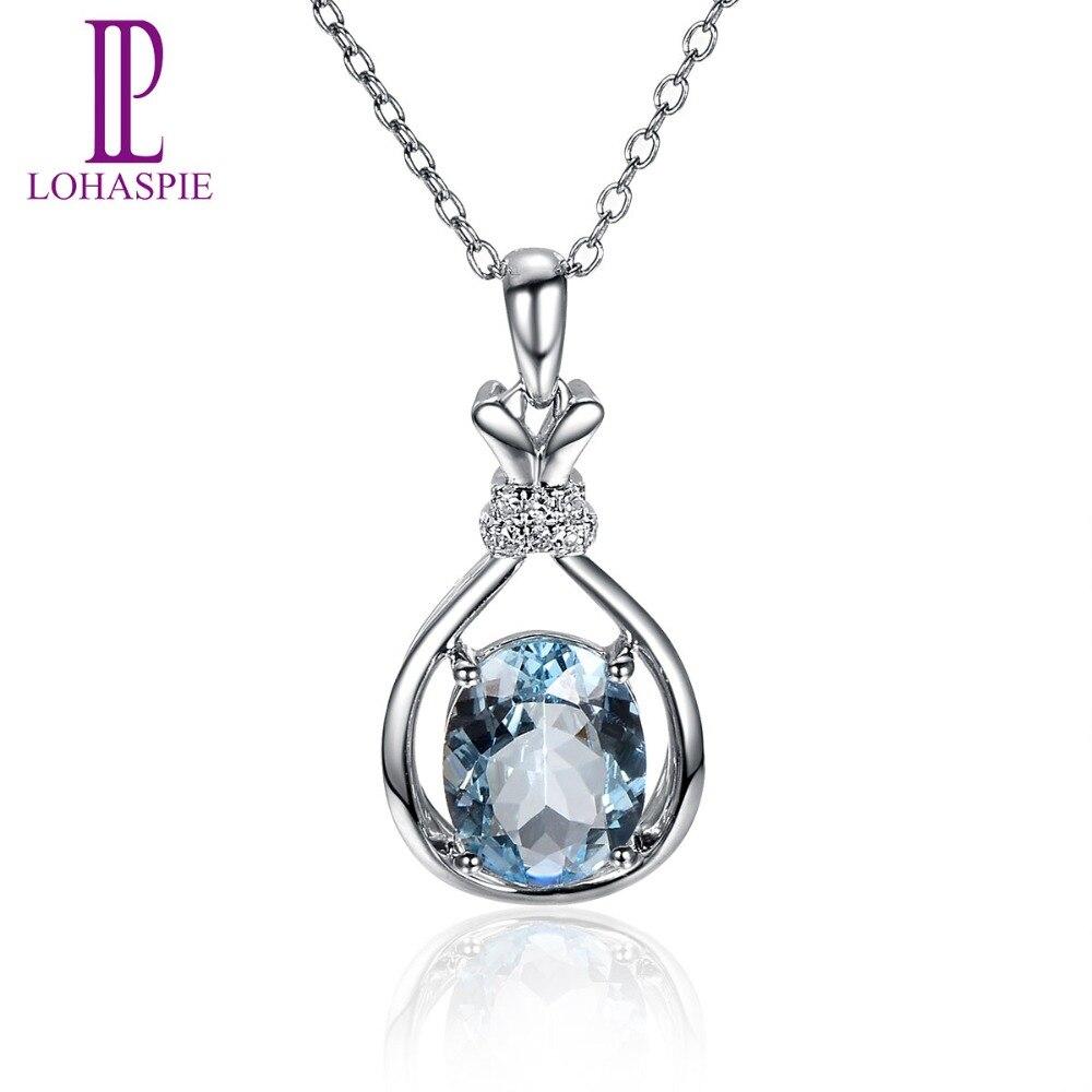 Lohaspie Diamond-Jewelry 1.2ct Natural Gemstone Aquamarine 18K White Gold Romantic Pendant Stone Jewelry For March Birthday Gift