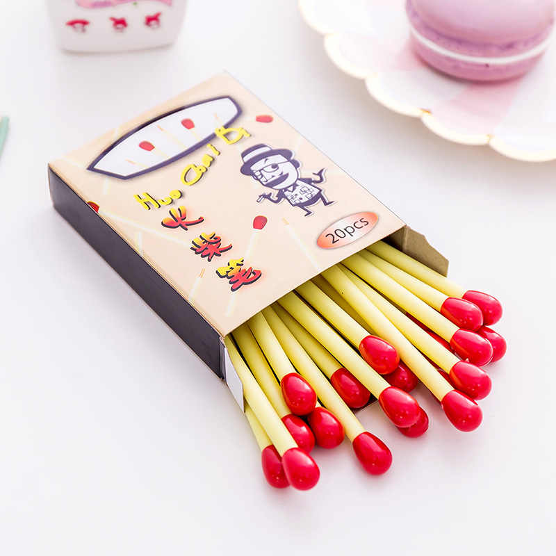 20 Pcs/box 8.5cm Creative Cute Matches Blue Ink Ballpoint Pen School Supplies Student Stationery Canetas escolar