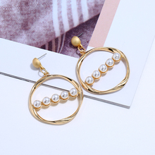 2019 Fashion New Season Exquisite Alloy Drop Earrings Simulated Pearl Face-Slim Gold Simple Brincos For Bride Women Jewelry