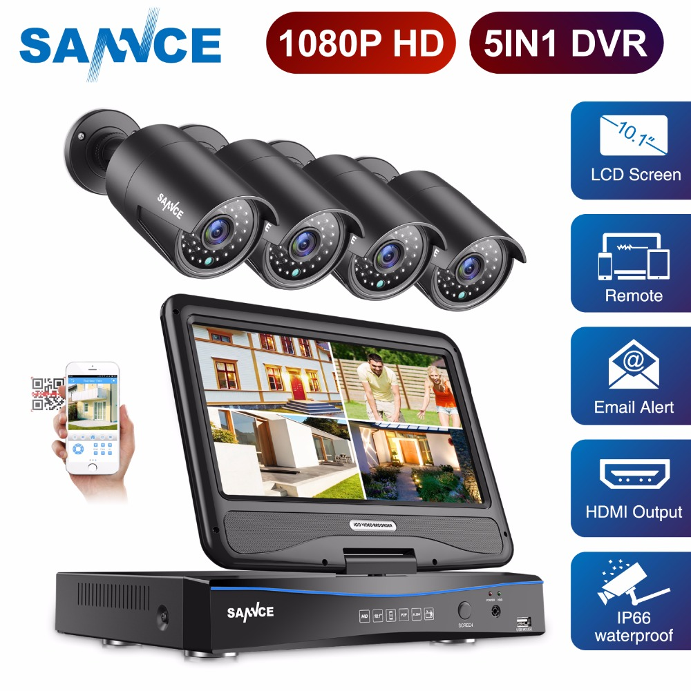 цена SANNCE 4CH FHD 1080P Security Camera System CCTV DVR with 10.1'' LCD and 4pcs 2.0MP Weatherproof Surveillance Camera