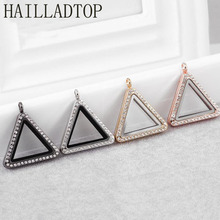 Rhinestone Floating Locket for Charms Openable Magnetic Glass Pendant 4 Colors Triangle With Chains