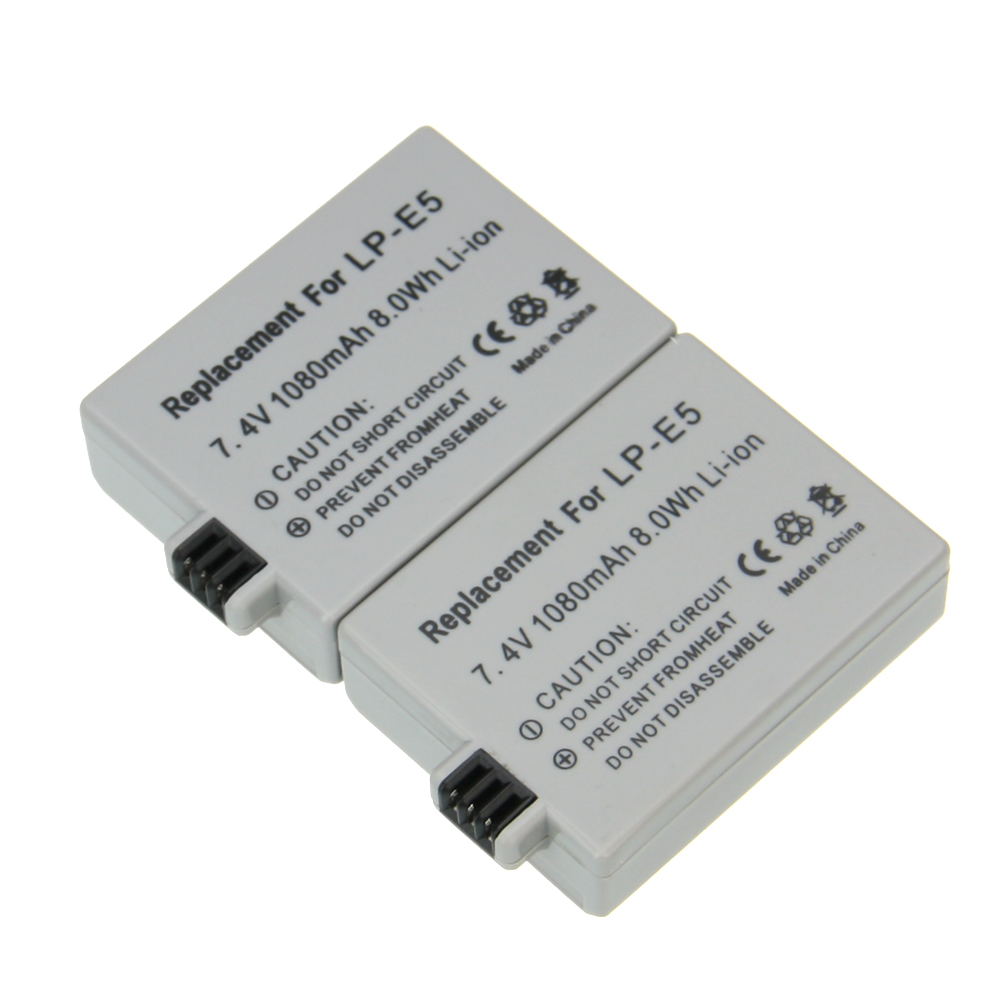 2PCS Hot sales 7.4V 1080mAh LP-E5 LP E5 LPE5 Rechargeable Digital Camera Li-ion Battery for Canon 450D 500D 1000D