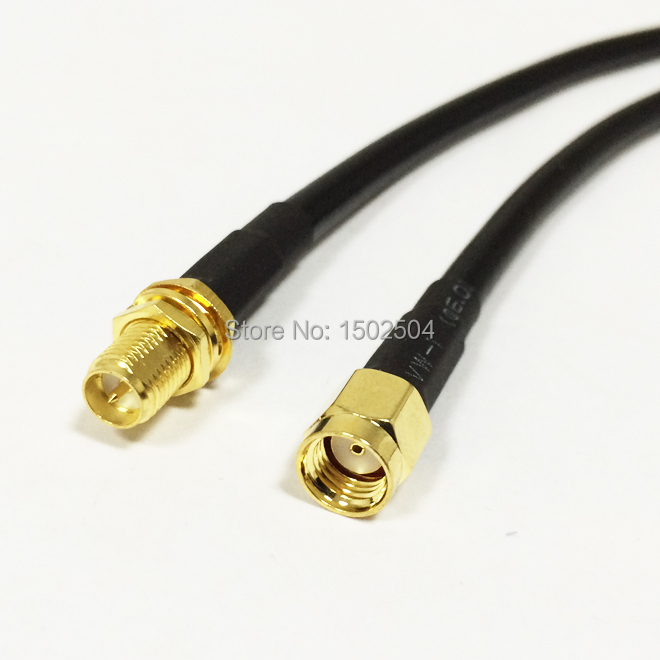 New RP-SMA  Male Plug  Connector Switch RP-SMA  Female Jack  Convertor RG58 50CM 20 Adapter Wholesale Fast Ship high quality low attenuation rp sma female jack connector switch n male plug connector rg142 50cm 20 adapter