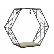 Estante de rejillas Hexagonal de hierro, combinación de figuras geométricas colgantes, decoración, estante de Pared, 19May20 P35