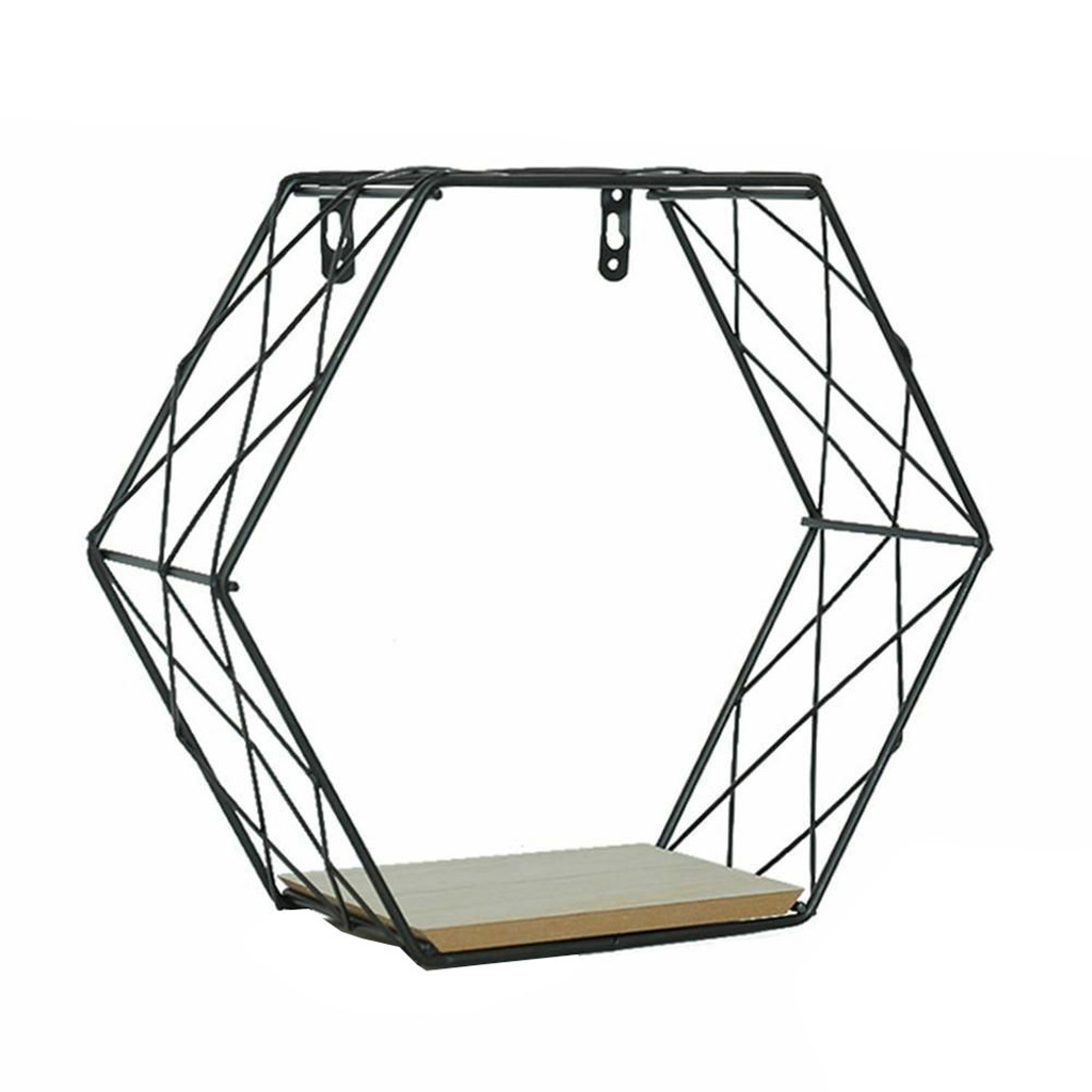 Estanteria pared estilo nordico ferro hexagonal grade prateleira combinação pendurado figura geométrica decoração parede prateleira 19may20 p35
