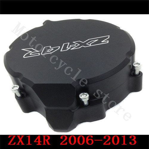 For Kawasaki ZX14R ZX-14R ZZR1400 2006 2007 2008 2009 2010 2011 2012 2013 2014 Motorcycle Engine Stator cover Black Left side motorcycle cnc stator cover slider frame crash protector for kawasaki ninja zx14r 2006 2007 2008 2009 2010 2011 2012 blue