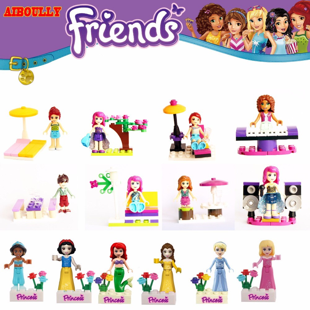 Set Sale Lepine Bricks Toys Friends Series Building Blocks Princess Figures Compatible with lego Friends For Girl Toy W045 lepine 16008 cinderella princess castle 4080pcs model building block toy children christmas gift compatible 71040 girl lepine