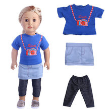 3pcs/set T-shirt Tops+Skirt + Leggings Trousers Three-piece Suit Clothes Set for 18inch Doll Accessories Toys(China)