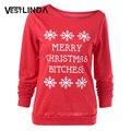 VESTLINDA Мода Женщин Рождеством Толстовка Топы Письма Печати Пуловер Снежинка Толстовка Рождество Перемычка Плюс Размер
