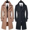 Tailor-made Outono Inverno 2016 nova chegada de lã outerwear longo casaco térmico de alta qualidade de design masculino plus size