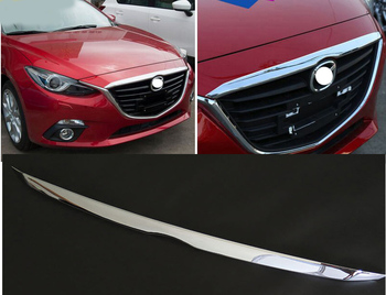 ACCESSORIES FIT FOR MAZDA 3 AXELA CHROME FRONT HOOD COVER TRIM MOLDING GRILLE BONNET GARNISH GRILL STRIP BAR