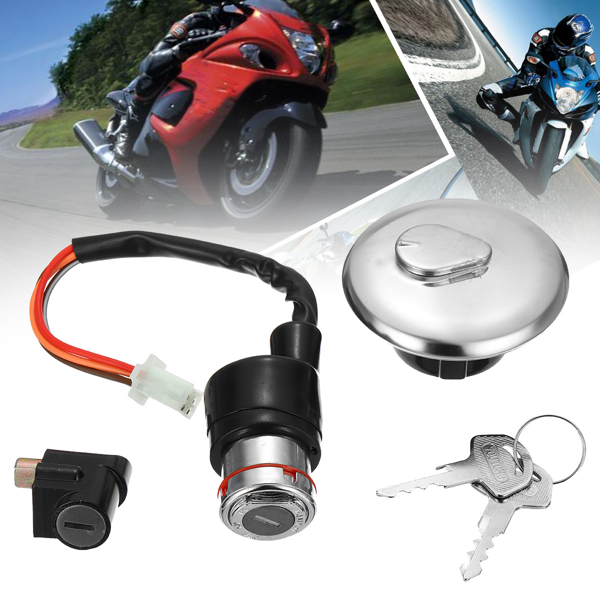Complete Lock Set Ignition Main Switch 2 Keys Petrol Cap For Suzuki GN125 GN 125 Motorcycle Moto Accessories