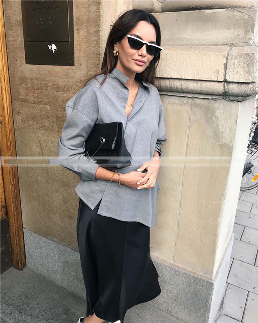 54a3b0c9e18 WISHBOP Grey Noma WOOL shirt Stand Collar FRONT Asymmetric Button up Drop  Shoulder Long Sleeve Buttoned Cuffs Fashion top Blouse