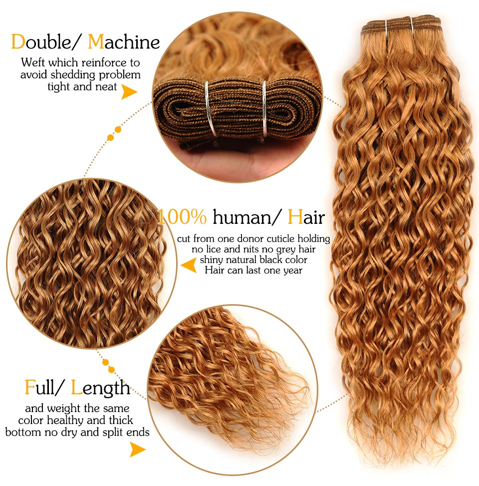 Pinshair Per-Colored Honey Blonde 27 Peruvian Water Wave Hair Weft 3 Bundles 100% Human Hair Weave Extension Non Remy Thick Hair (1)