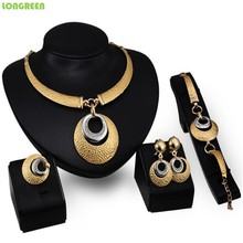 Metal Zinc Alloy Crystal Zircon Necklace Set women Gold Bridal Jewelry Set Indian Dubai Jewelry Sets Bijoux Mariage Bijoux Femme недорого