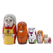 New Style 6 Pcs Set Grandma Russian Dolls Hand Painted Home Decor Birthday Gifts Baby Toy Nesting Wooden Matryoshka