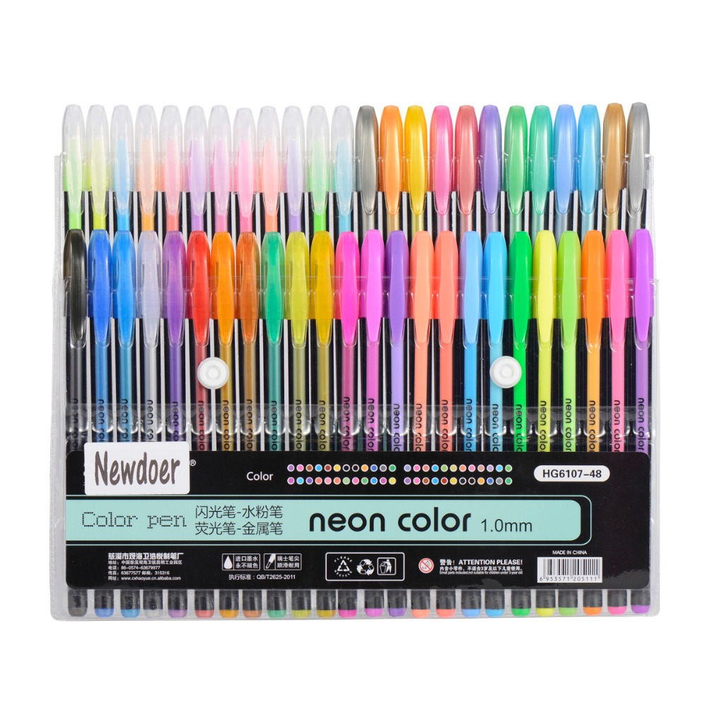 12 färger 24 färger 36 färger 48 färger Färggelfärgpennor, Bästa gelpennor för vuxna målarböcker, ritning och skrivning1.0mm
