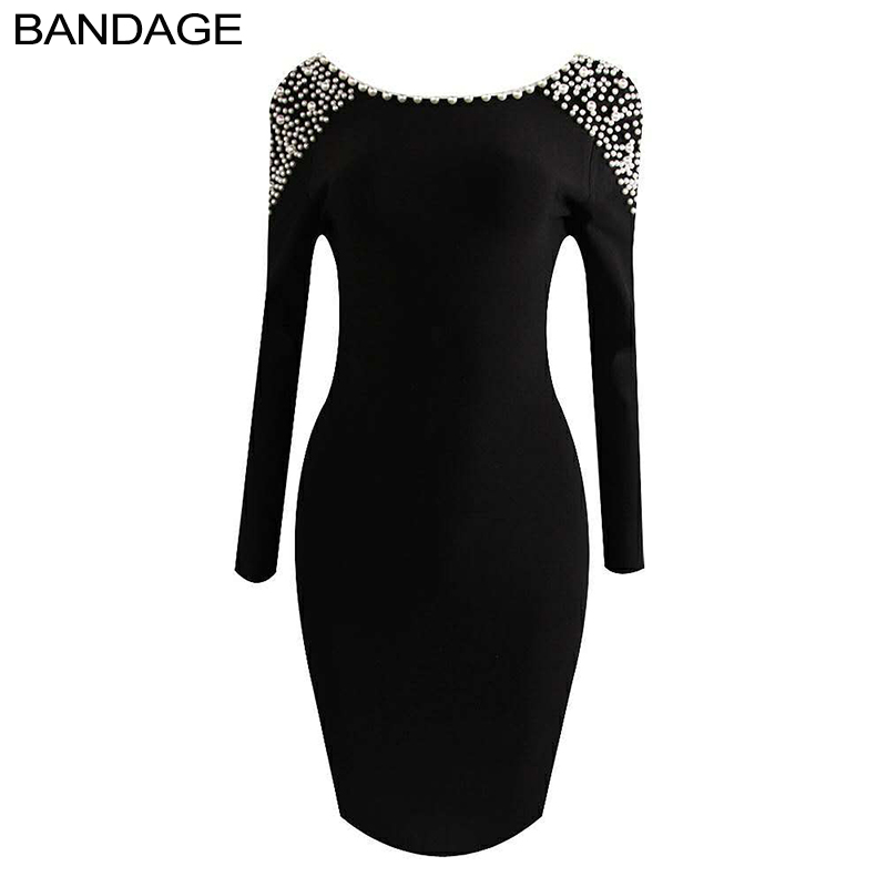 LEGAER BABE 2018 Autumn Long Sleeve Open Back Bandage Dress Women Party Low Back Pearl Beaded Shoulder Sexy Club Wear Outfits
