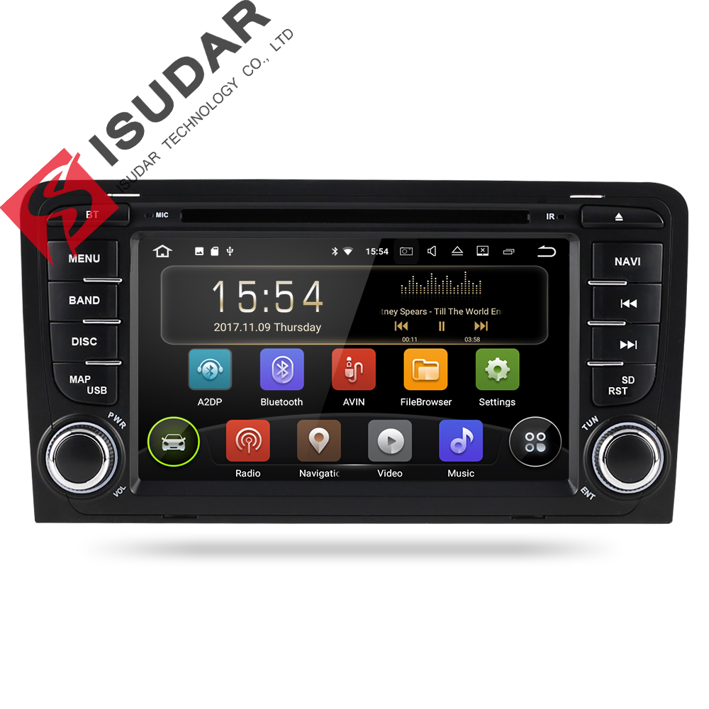 Isudar Car Multimedia Player Two Din Android 8.1 GPS For A3/S3 2002-2013 Radio DVD Player Quad Core RAM 2GB ROM 16GB FM USB DVR funrover 9 2 din android 8 0 car radio multimedia dvd player gps for great wall haval h3 h5 2010 2013 glonass wifi fm quad core