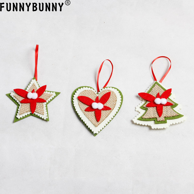 FUNNYBUNNY Non woven pendant Christmas tree pendant decoration supplies Christmas Tree Pentagram Heart Pattern in Pendant Drop Ornaments from Home Garden