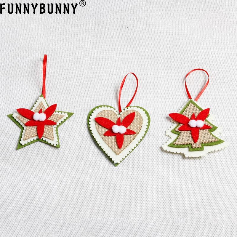 FUNNYBUNNY Non-woven pendant Christmas tree decoration supplies Tree Pentagram Heart Pattern