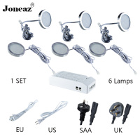 Led under cabinet light for closet kitchen wardrobe DC12V round SAA UK EU US plug 2 meter cable 2W 1 set super Joneaz
