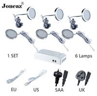 Led under cabinet light for closet kitchen wardrobe DC12V round SAA UK EU US plug 2 meter cable 2W 1 set super Joneaz