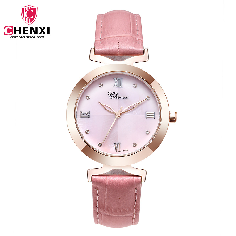 Luxury CHENXI Brand Rose Gold Pink Women Casual Watches Leather Strap Waterproof Fashion Simple Business Lady Dress Wristwatch fashion casual latest style rose gold frame watches women luxury brand guanqin genuine leather strap quartz wristwatch