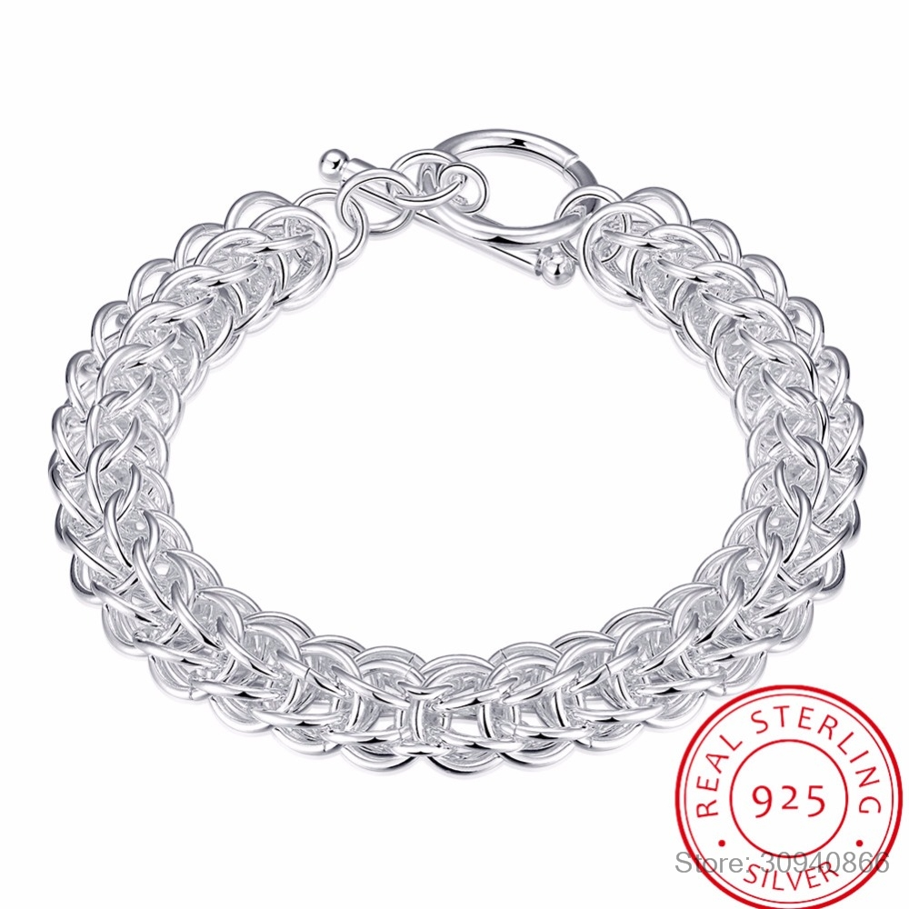 LEKANI Men's Fine Jewelry 10mm 21cm Round Circles Link Chains 925 Sterling Silver Bracelet Bangle Pulseras Male Holidays Gift