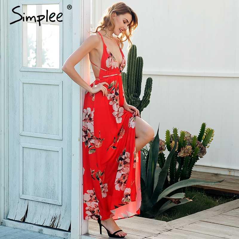 98de5a712deaf Simplee Sexy deep v neck boho dress women Backless cross lace up summer  beach long dress Sleeveless chic maxi dress vestidos
