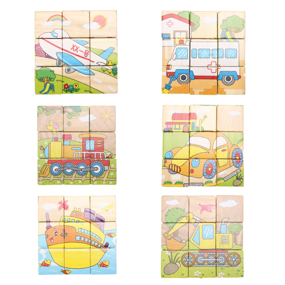Kids Educational Vehicle 3D Puzzle Leker Fødselsdag Gift Funny Six Side 9pcs Cartoon Wooden Magic Cubes for Children Play
