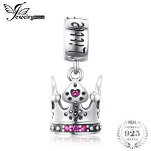 JewelryPalace Princess Crown Created Ruby 925 Sterling Silver Charm Beads 2018 New Hot
