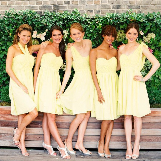 Short Yellow Chiffon Bridesmaid Dress Knee Length Summer Beach Wedding Guest Party Gowns 2017 In Dresses From Weddings Events On Aliexpress