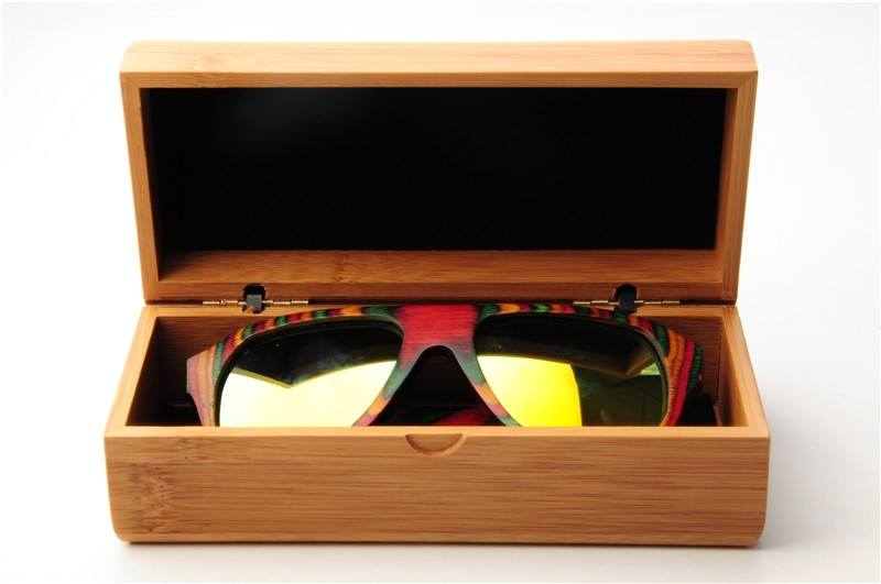 LONSY Fashion Rectangular Sunglasses Case Brand Designer Handmade Natural Bamboo Wood Sun Glasses Box Bag  BM8001