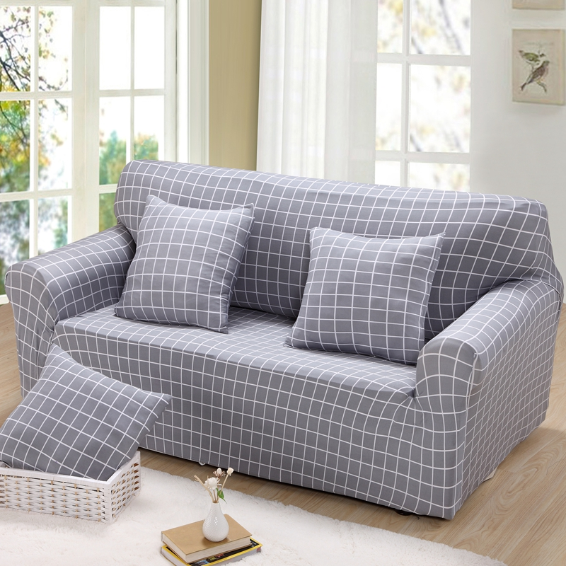 Double/three/four/single Universal Sofa Cover Elastic Sectional Sofa  Slipcover Plaid Corner
