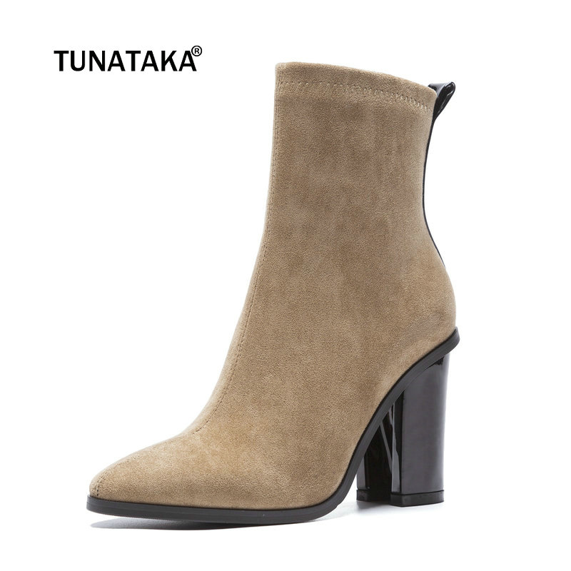 Women Suede Thick High Heel Ankle Boots Fashion Zipper Boots Ladies Round Toe Fall Winter Bootie Black Gray Khaki ladies suede crystal thick high heel ankle boots fashion side zipper boots women round toe fall winter shoes black wine red
