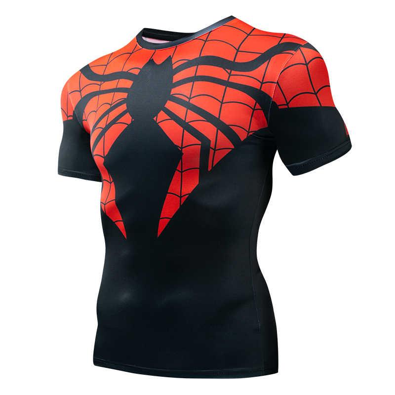 Новый Человек-паук 3D Принт футболки Для мужчин сжатия фитнес-одежда супергероя топы костюм короткий рукав Фитнес футболки для кроссфита