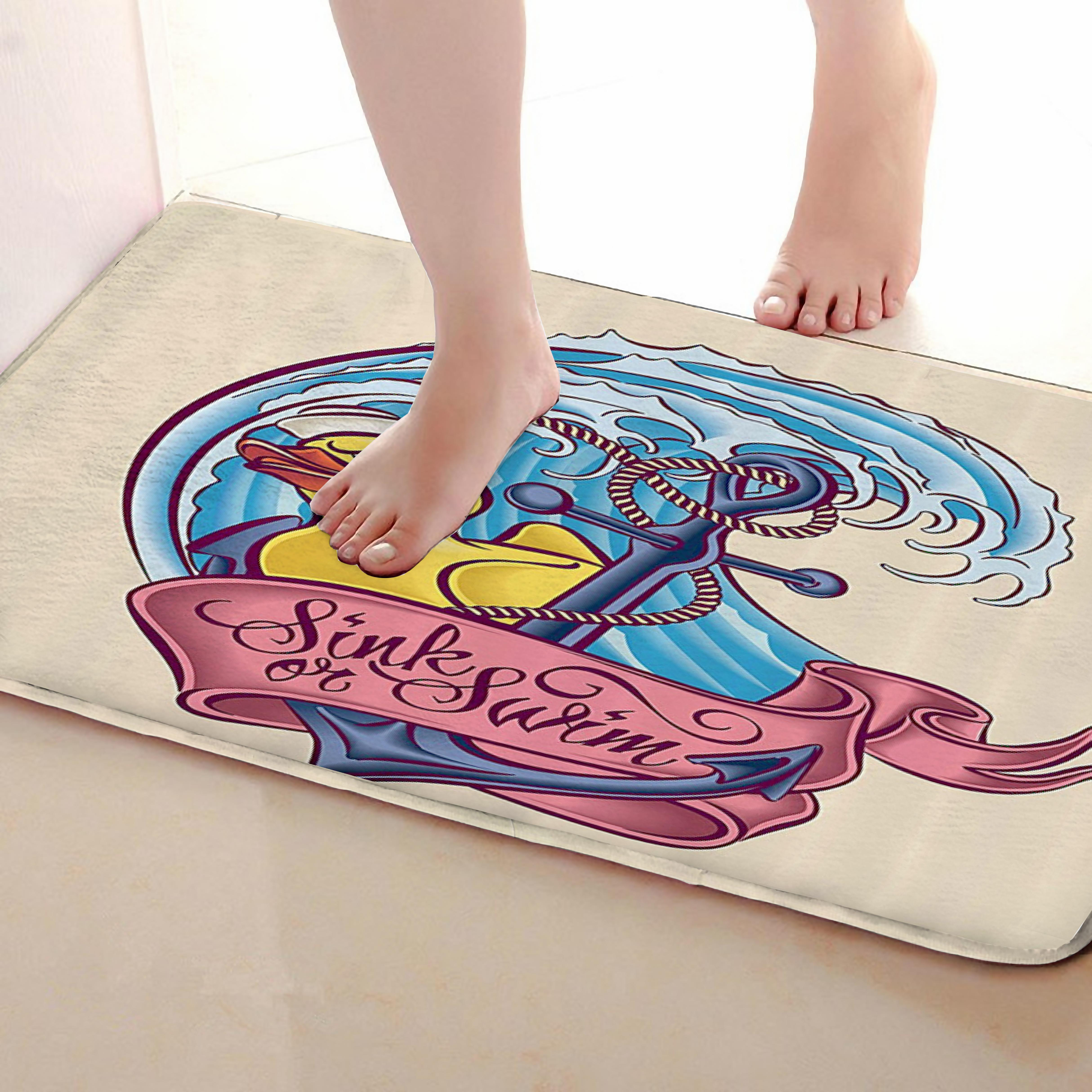Anchor Style Bathroom Mat,Funny Anti Skid Bath Mat,Shower Curtains Accessories,Matching Your Shower Curtain