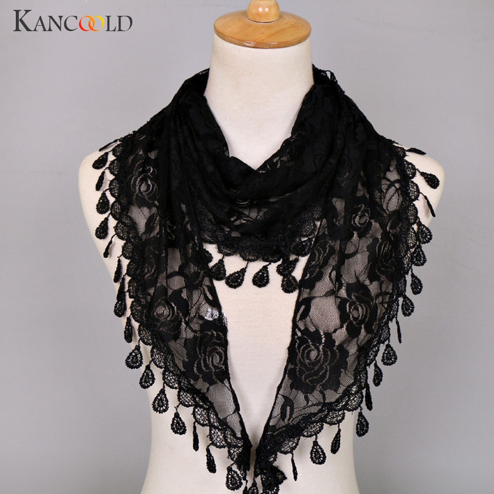 KANCOOLD Scarf Women Lace Tassel Rose Floral Hollow Scarves Shawl Lady Wraps Nylon High Quality Scarf Women 2018Nov2