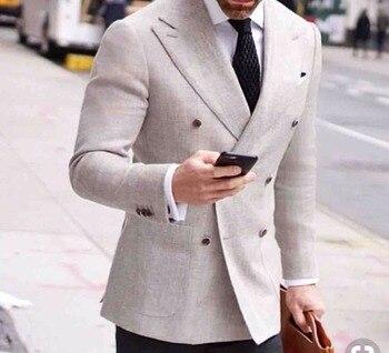 Custom Made Double Breasted Groom Tuxedos Peak Lapel Groomsmen Mens Wedding Suits Blazers (Jacket+Pants+Tie) W:542
