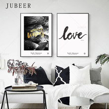 Nordic Minimalistic Black and White Botanical Decorative Painting Gold Text Decorative Painting Love Simple Poster and Print botanical print shirt