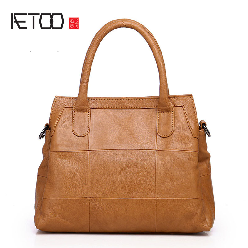 AETOO New Messenger bag female original leather fashion wild handbag simple shoulder bag big bag aetoo new leather diagonal female bag korean fashion tassel lady bag leather shoulder messenger bag